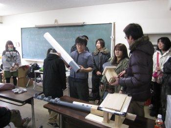 大学院:大きなリコーダー:研究室内でお披露目